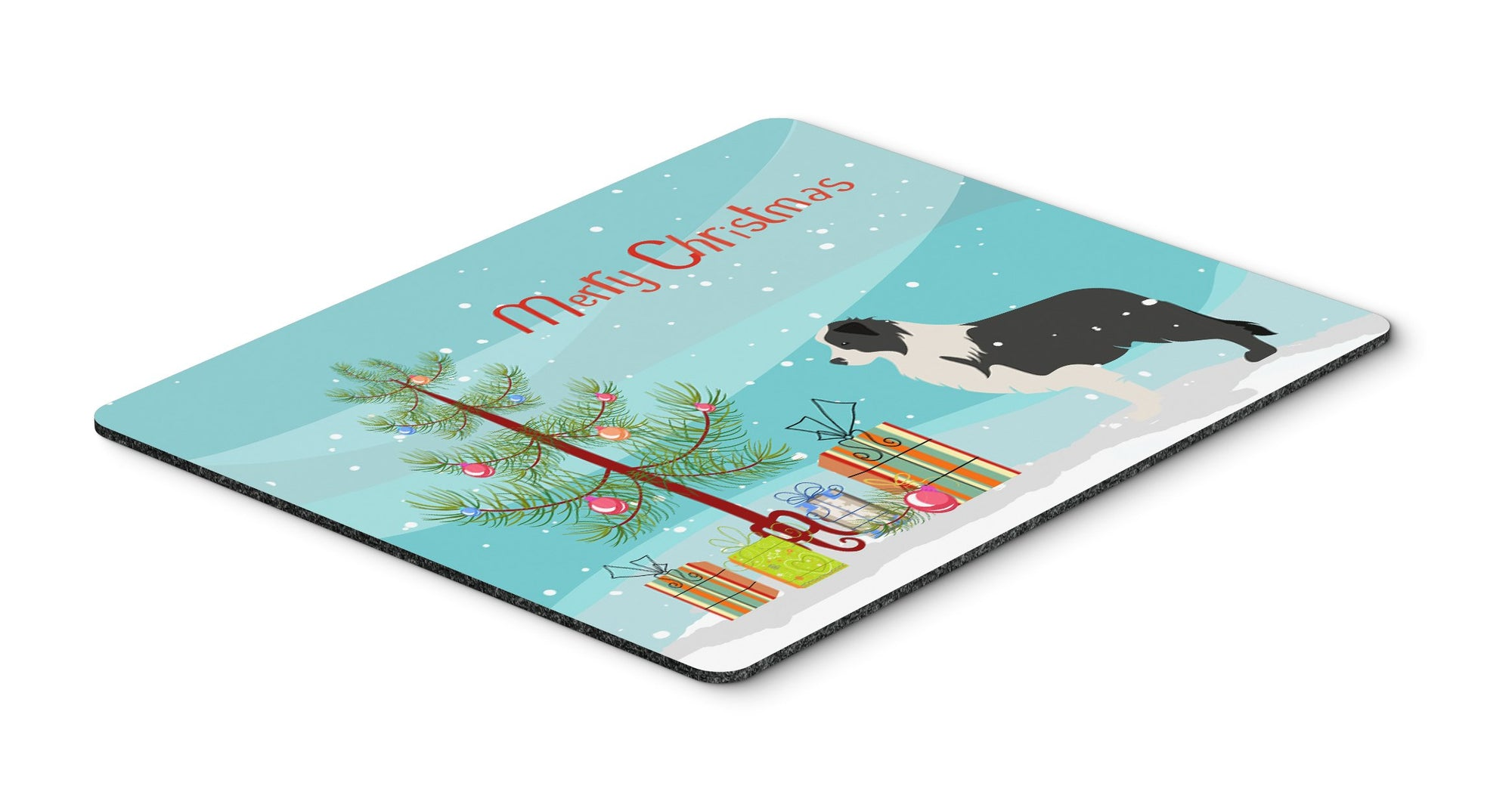 Buy this Black Border Collie Merry Christmas Tree Mouse Pad, Hot Pad or Trivet""