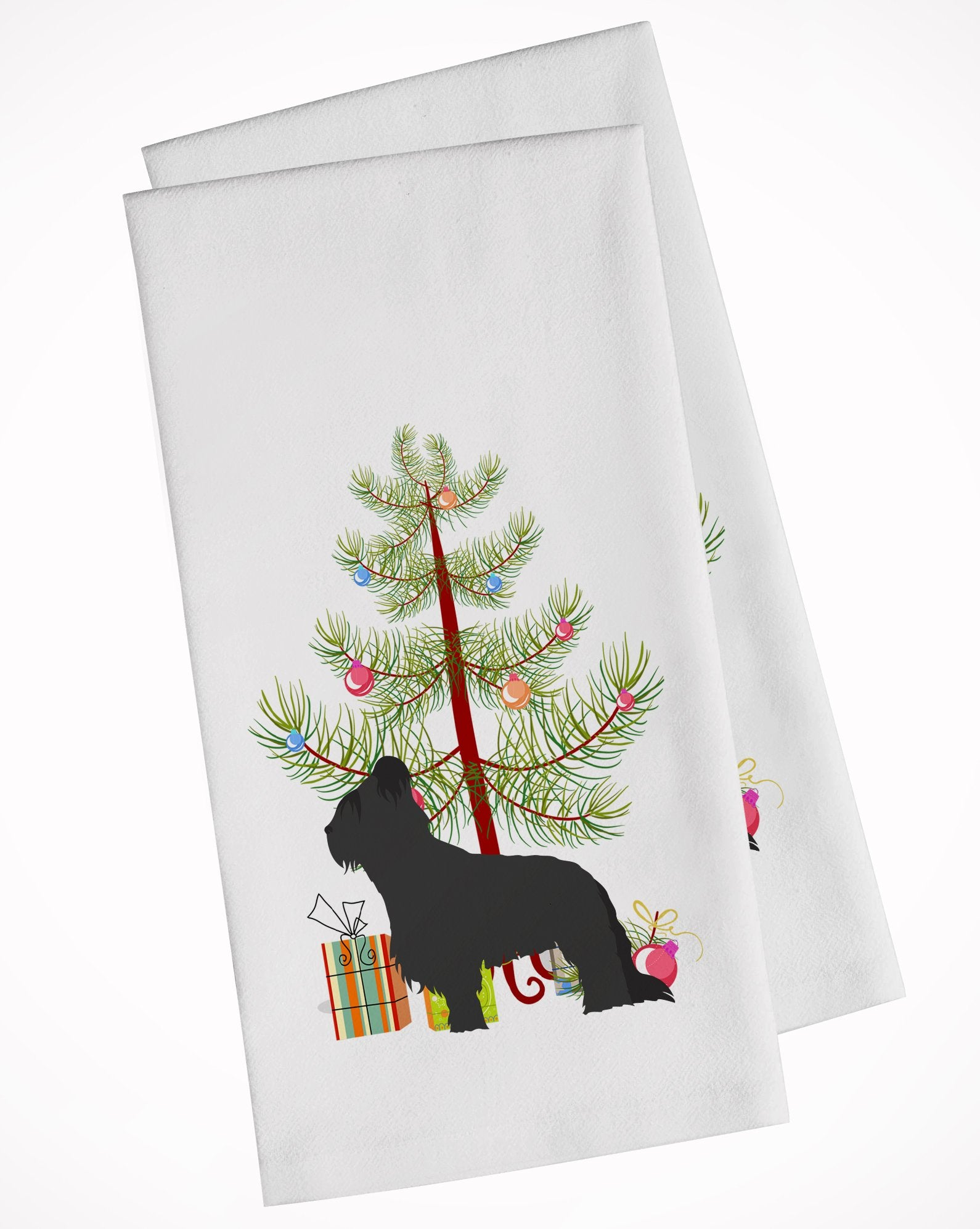 Buy this Briard Merry Christmas Tree White Kitchen Towel Set of 2 BB2944WTKT