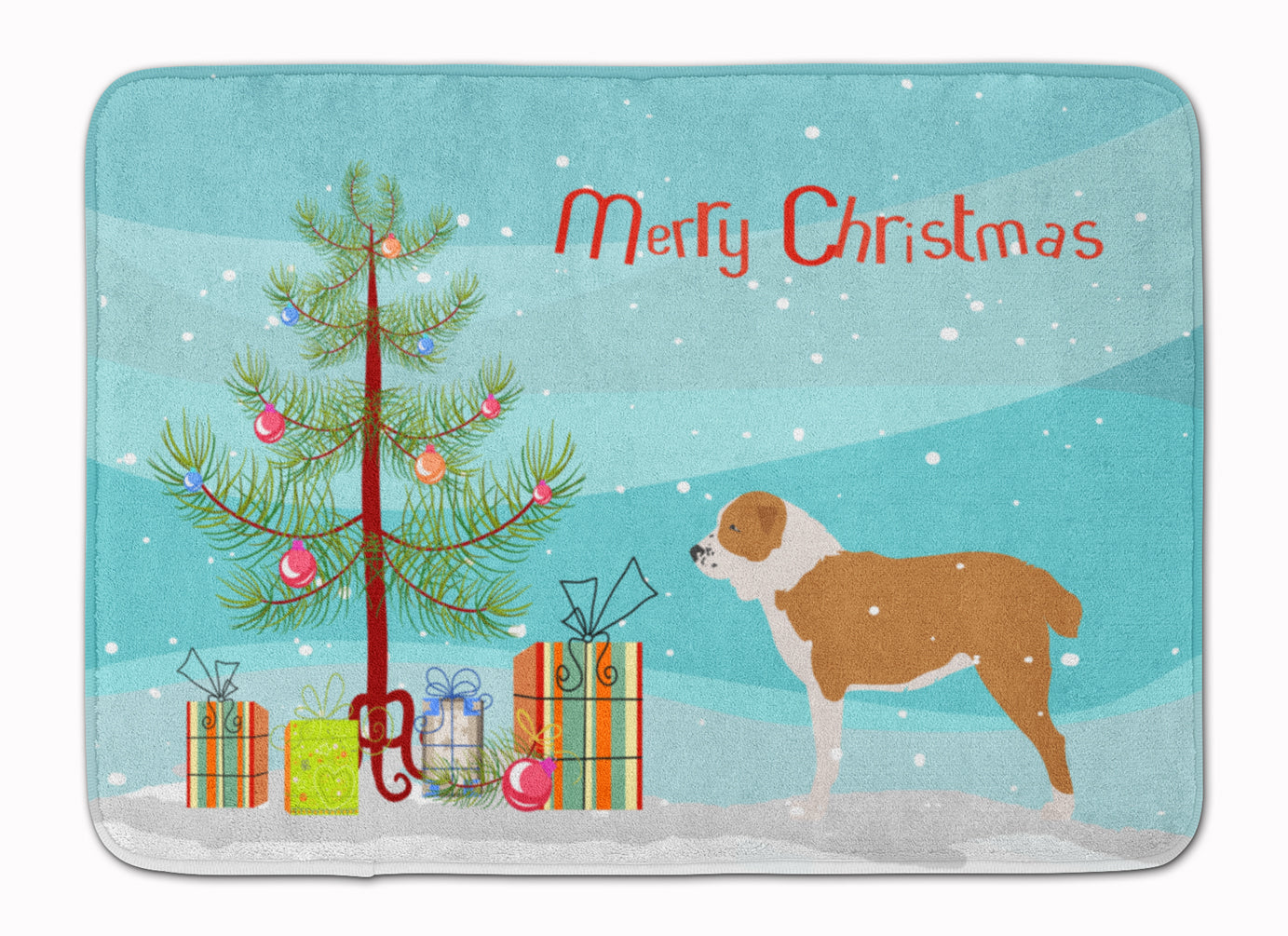 Central Asian Shepherd Dog Merry Christmas Tree Machine Washable Memory Foam Mat BB2946RUG by Caroline's Treasures