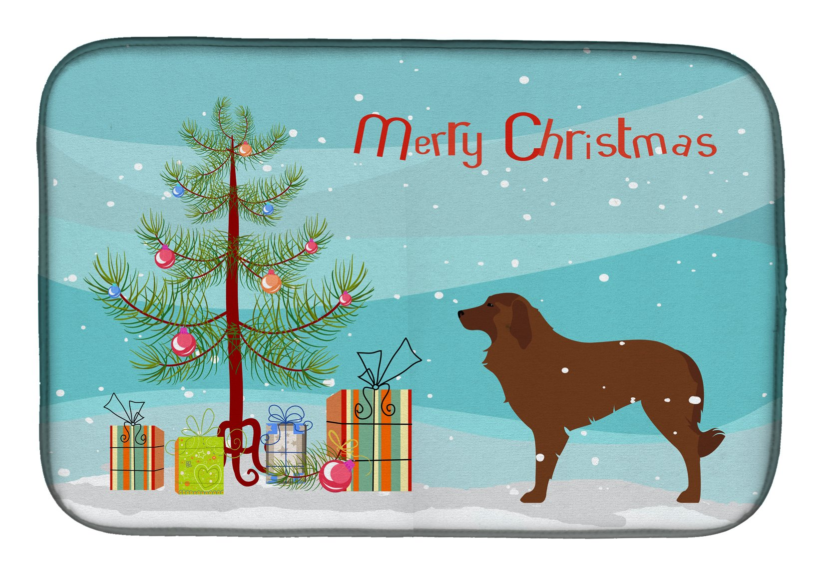 Portuguese Sheepdog Dog Merry Christmas Tree Dish Drying Mat BB2949DDM by Caroline's Treasures