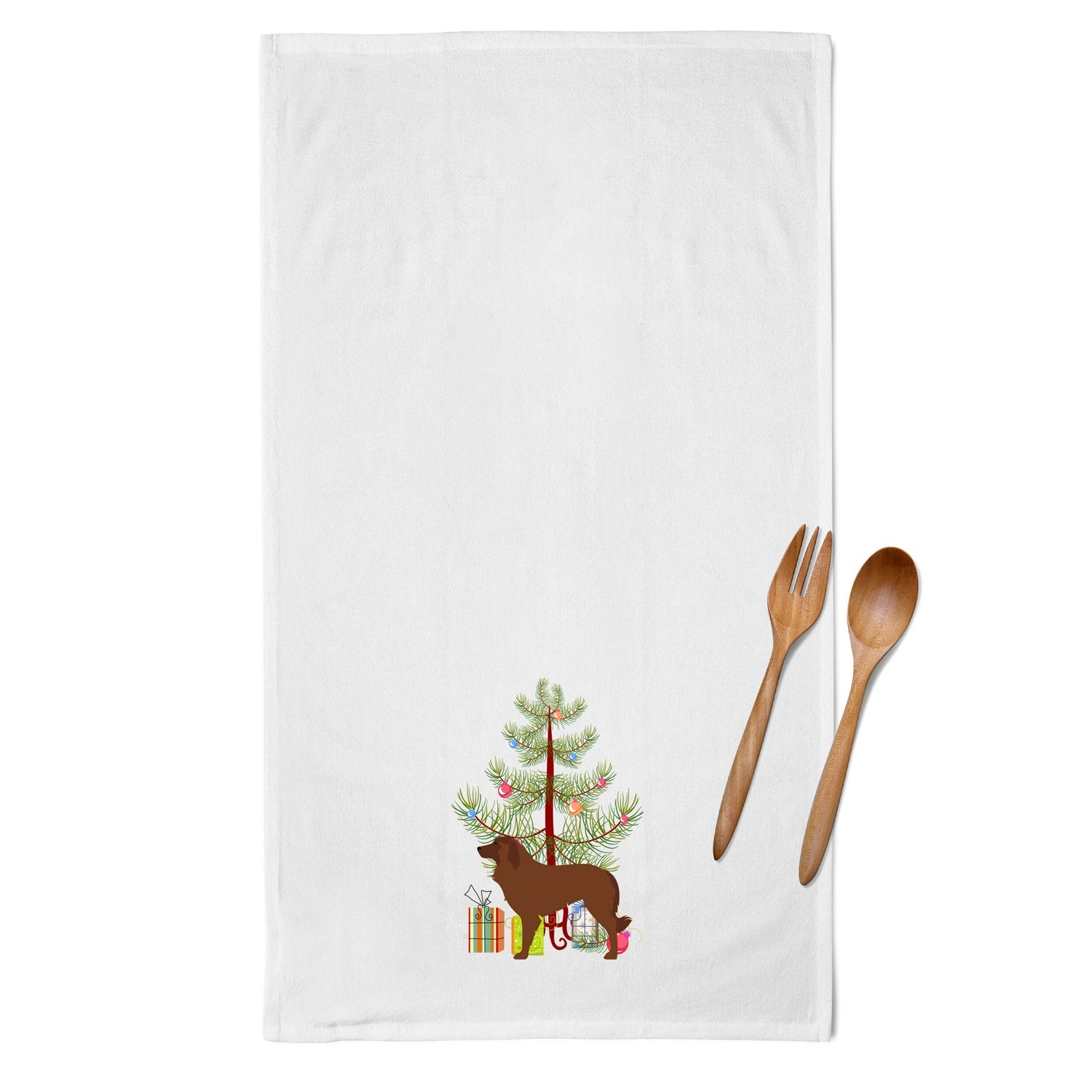 Portuguese Sheepdog Dog Merry Christmas Tree White Kitchen Towel Set of 2 BB2949WTKT by Caroline's Treasures