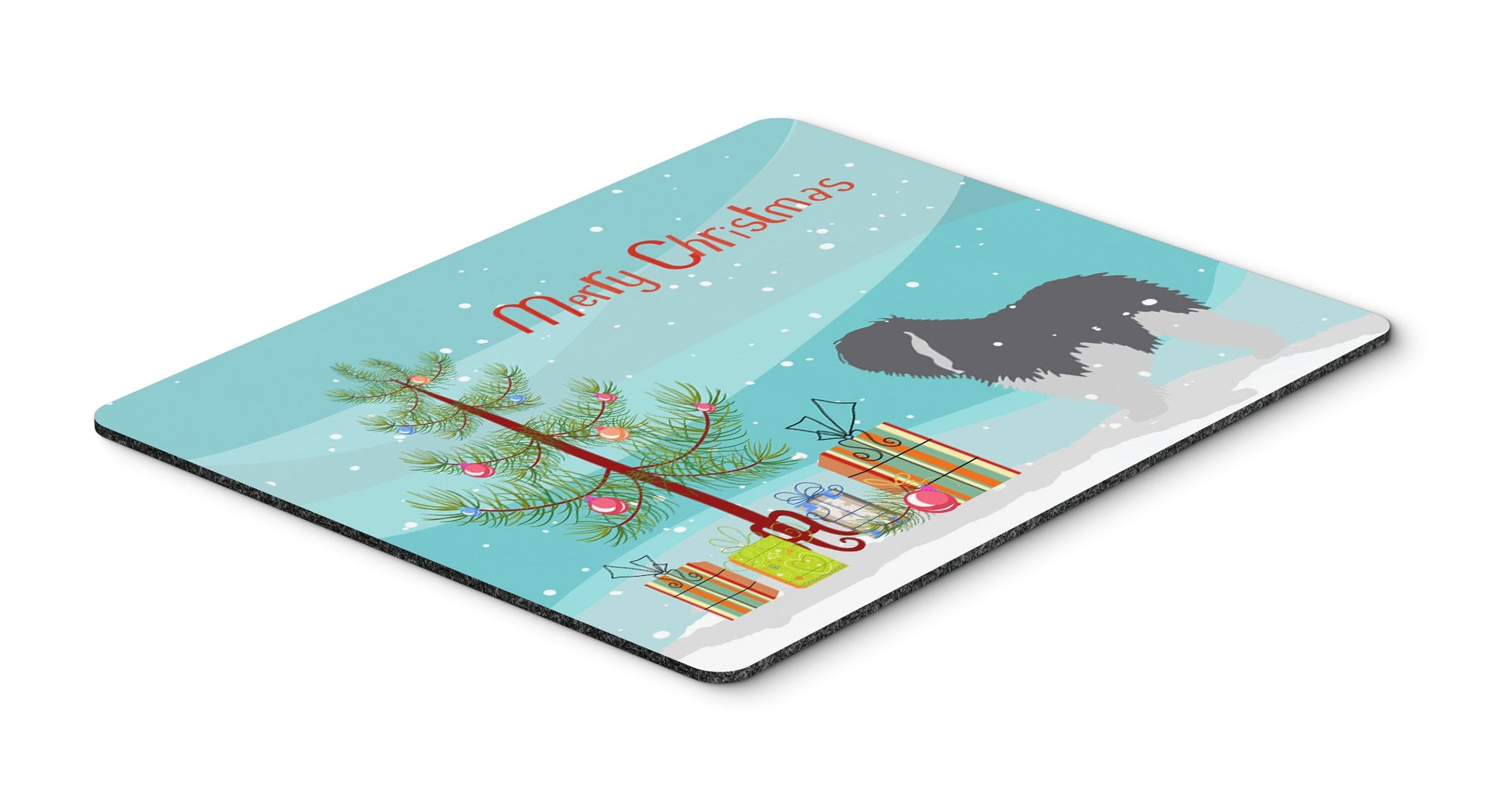 "Buy this ""Polish Lowland Sheepdog Dog Merry Christmas Tree Mouse Pad, Hot Pad or Trivet"""