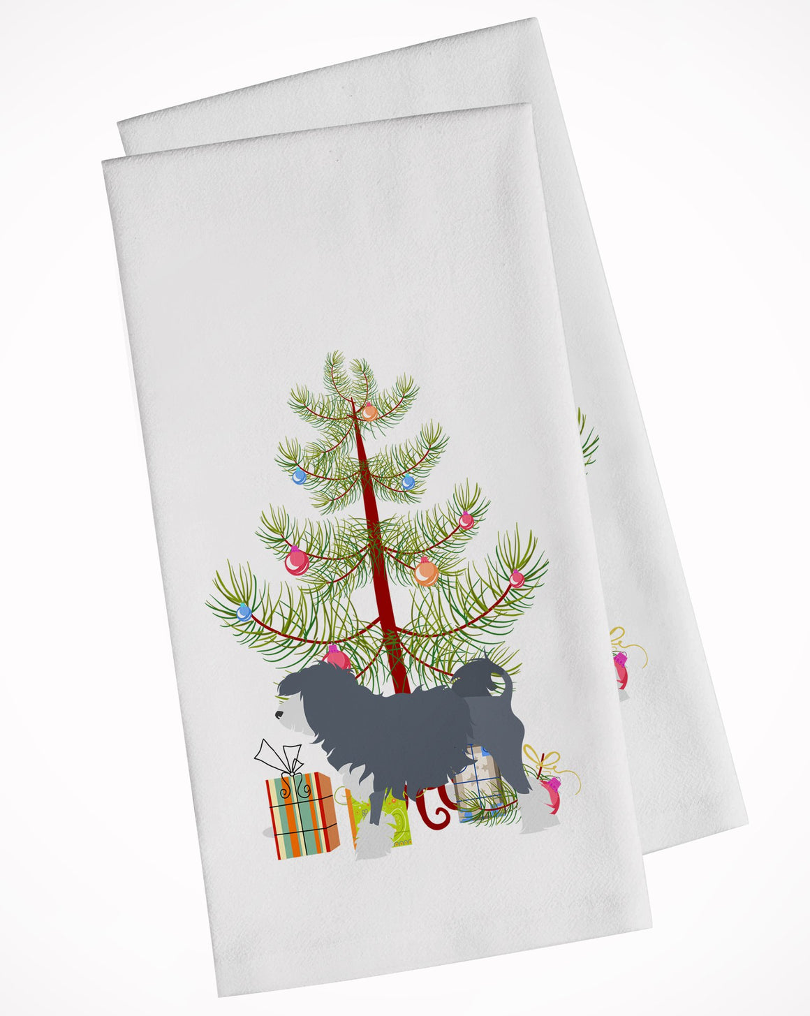 Buy this Lowchen Merry Christmas Tree White Kitchen Towel Set of 2 BB2953WTKT