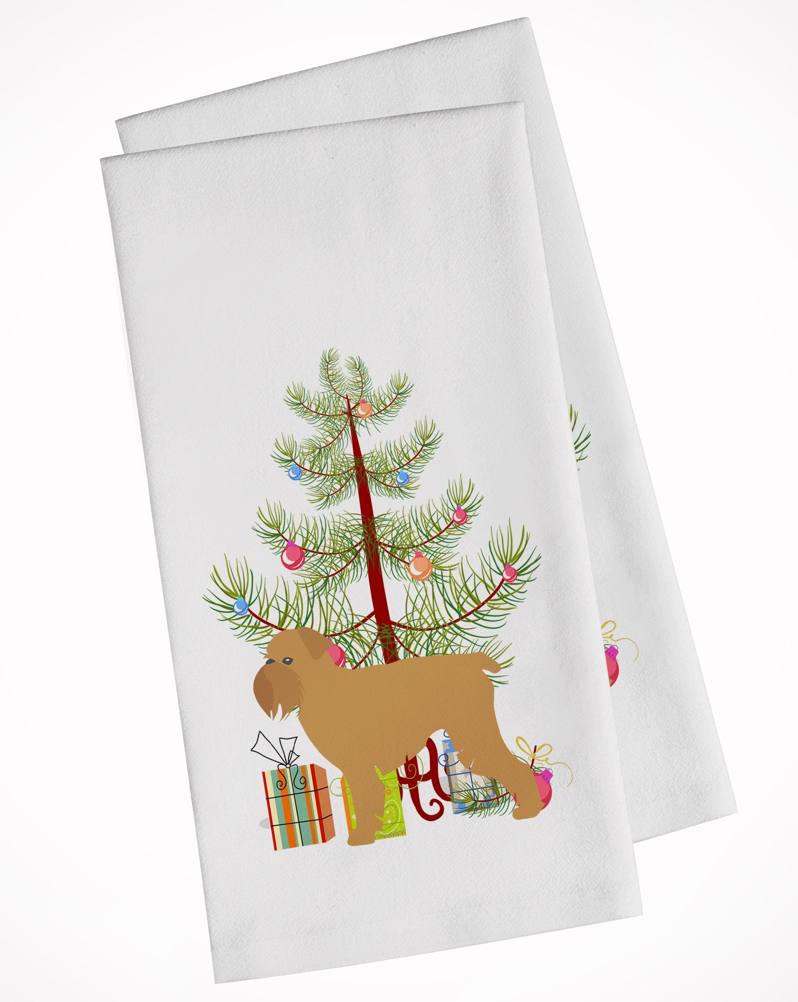 Buy this Brussels Griffon Merry Christmas Tree White Kitchen Towel Set of 2 BB2958WTKT
