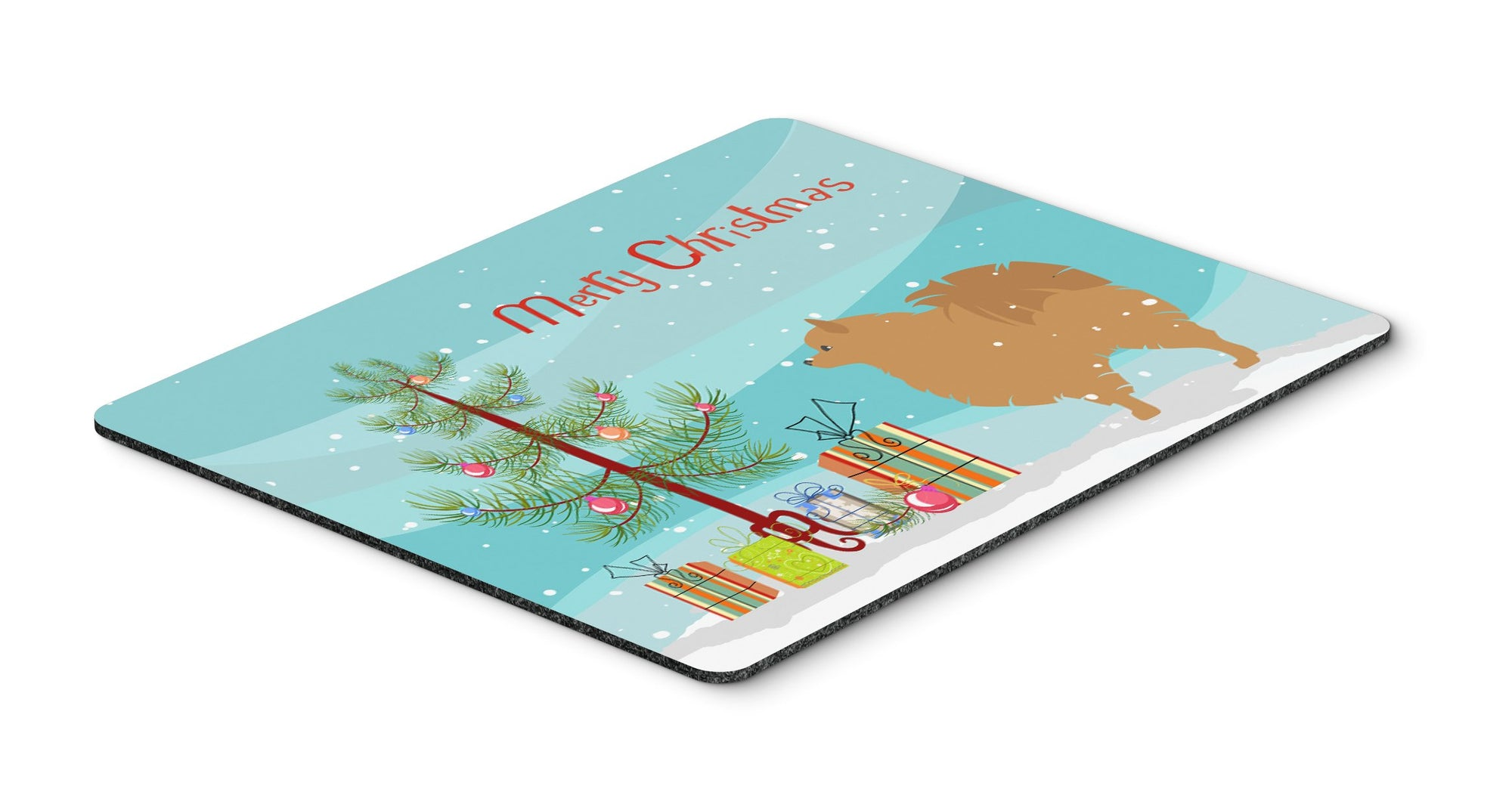 "Buy this ""Pomeranian Merry Christmas Tree Mouse Pad, Hot Pad or Trivet"""