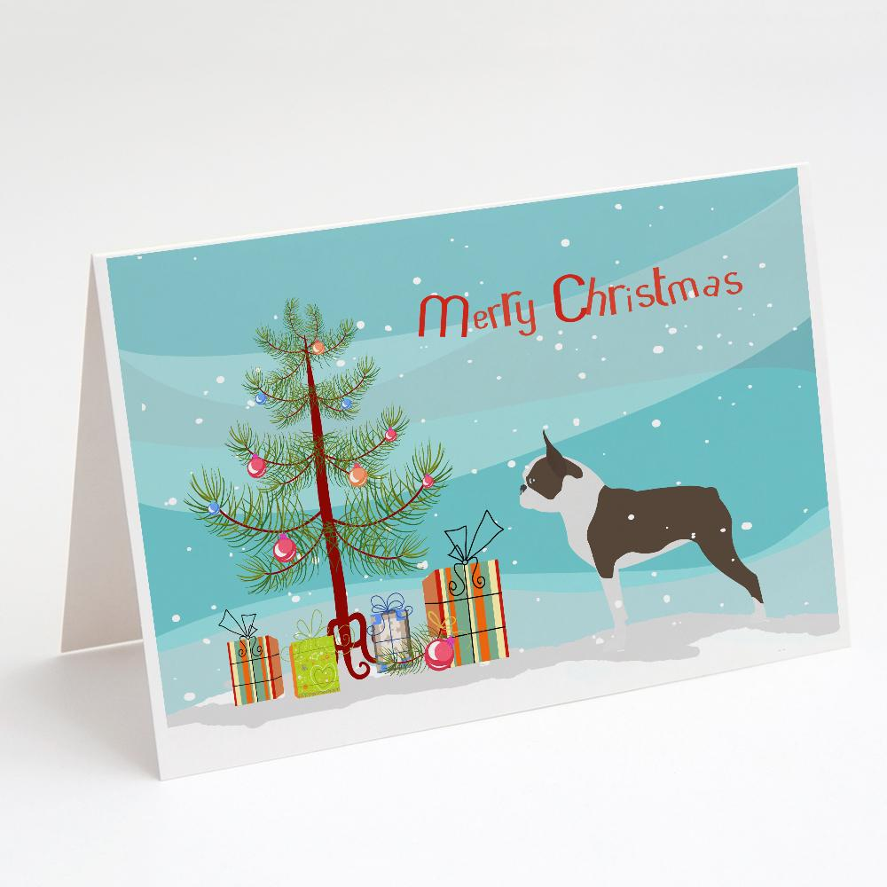 Buy this Boston Terrier Merry Christmas Tree Greeting Cards and Envelopes Pack of 8