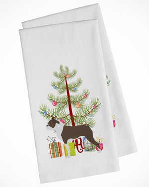 Buy this Boston Terrier Merry Christmas Tree White Kitchen Towel Set of 2 BB2962WTKT