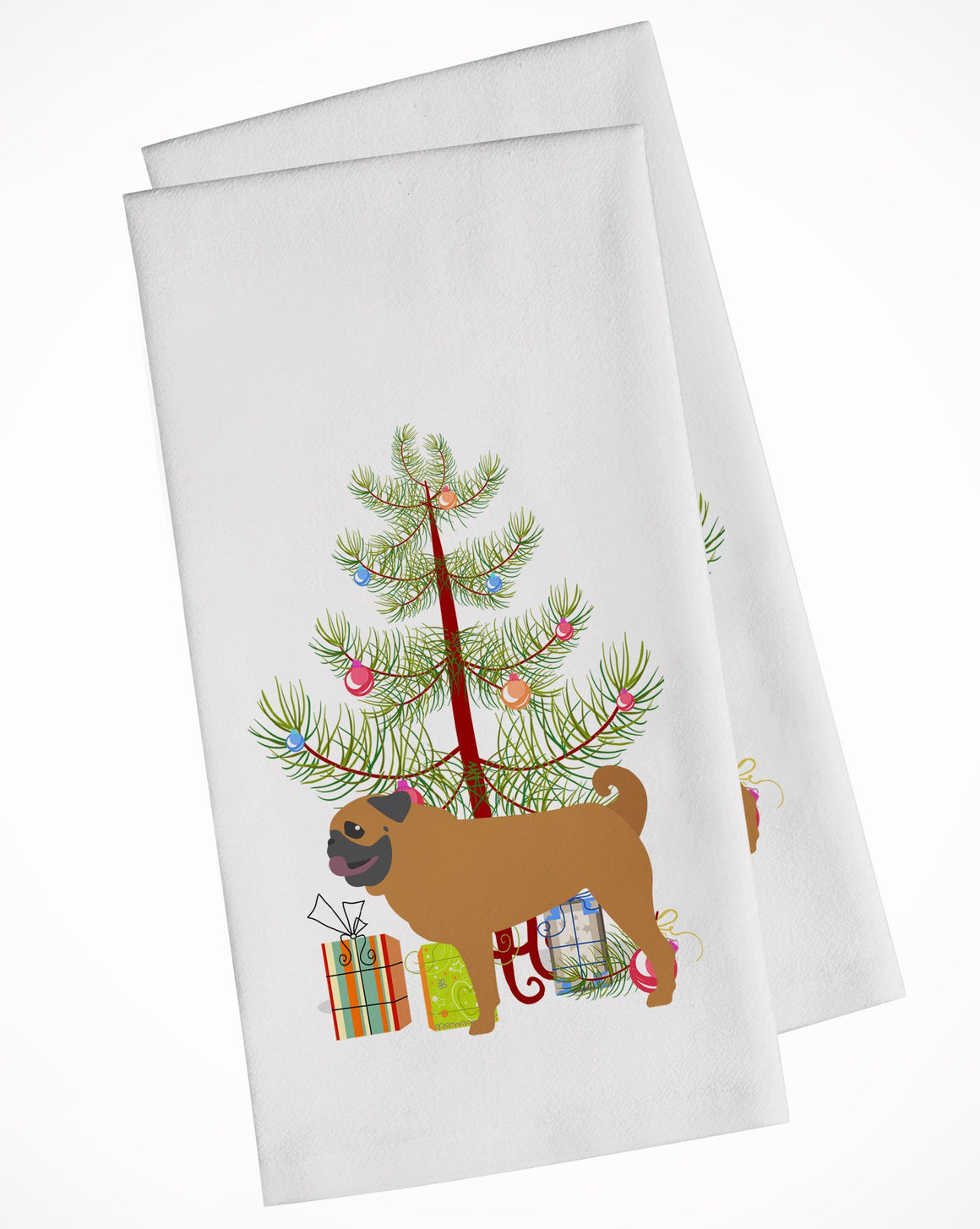 Buy this Pug Merry Christmas Tree White Kitchen Towel Set of 2 BB2965WTKT