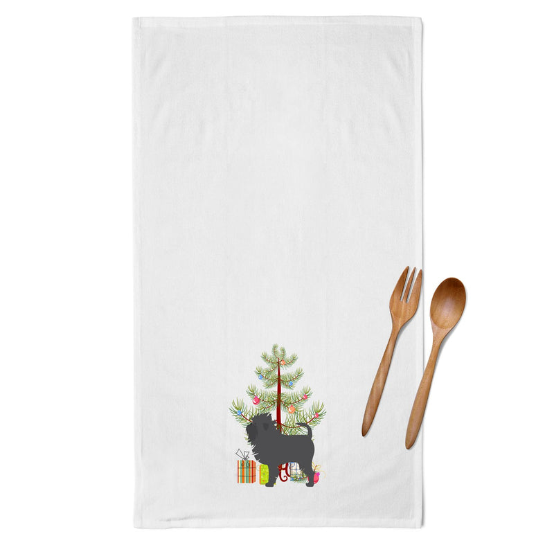 Buy this Affenpinscher Merry Christmas Tree White Kitchen Towel Set of 2 BB2966WTKT