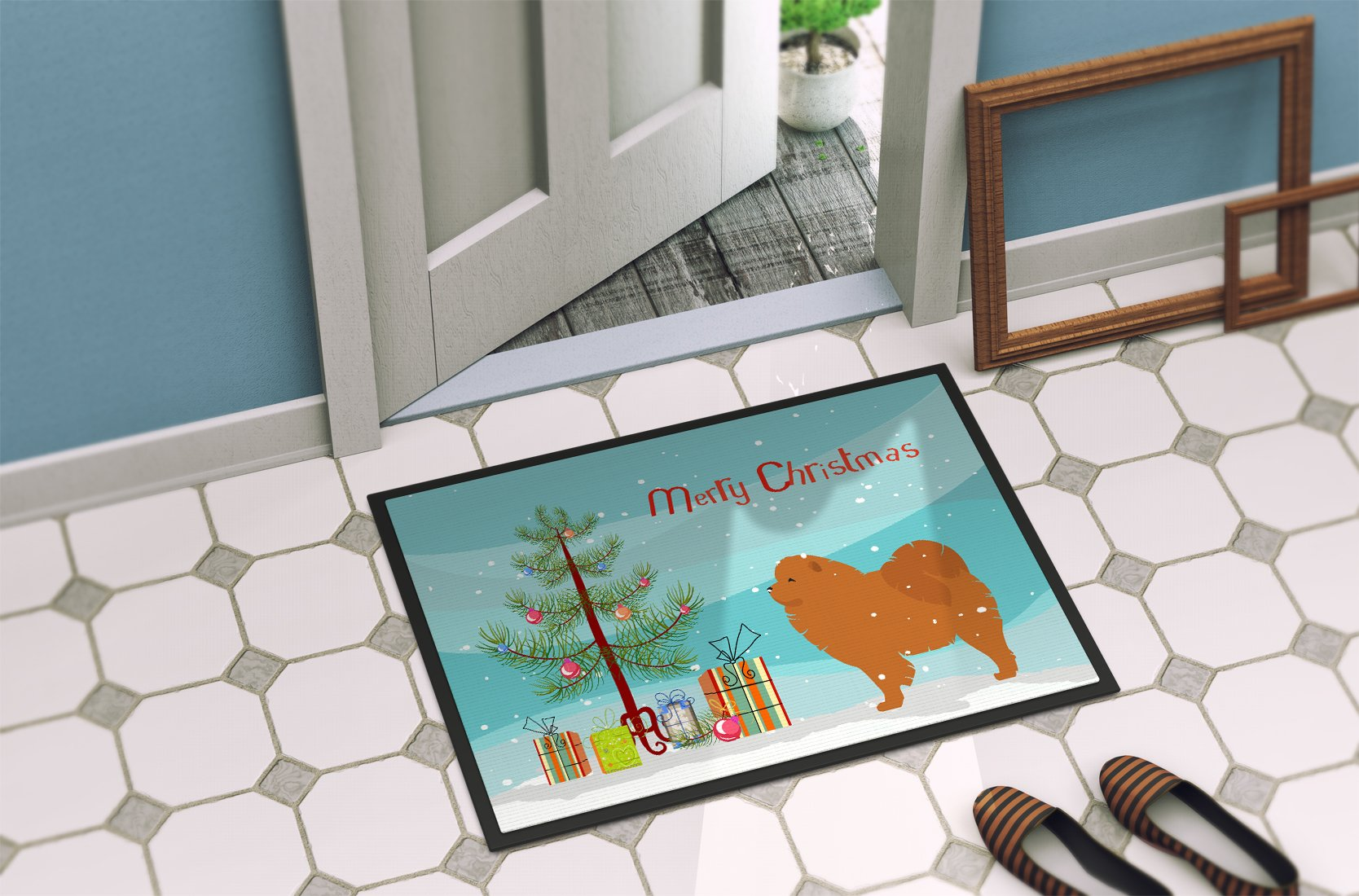 Chow Chow Merry Christmas Tree Indoor or Outdoor Mat 24x36 BB2969JMAT by Caroline's Treasures
