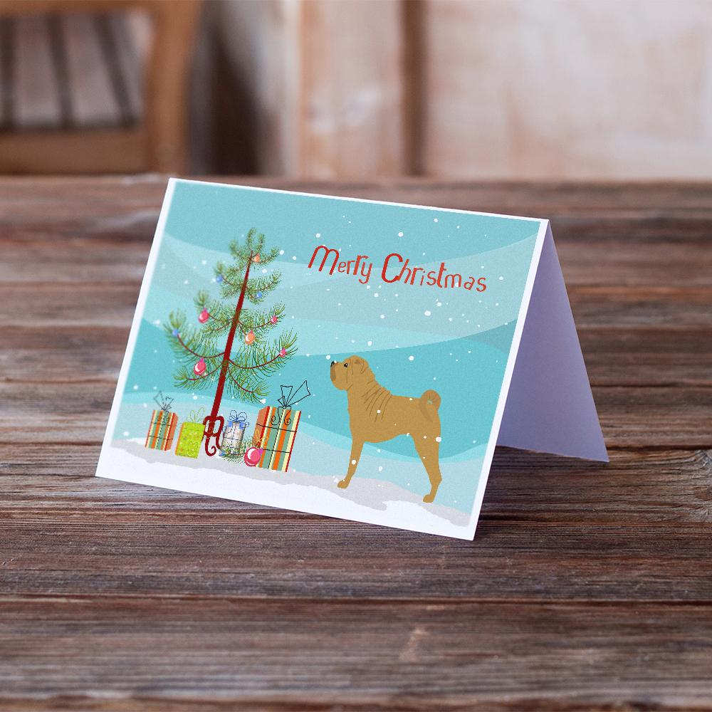 Buy this Shar Pei Merry Christmas Tree Greeting Cards and Envelopes Pack of 8