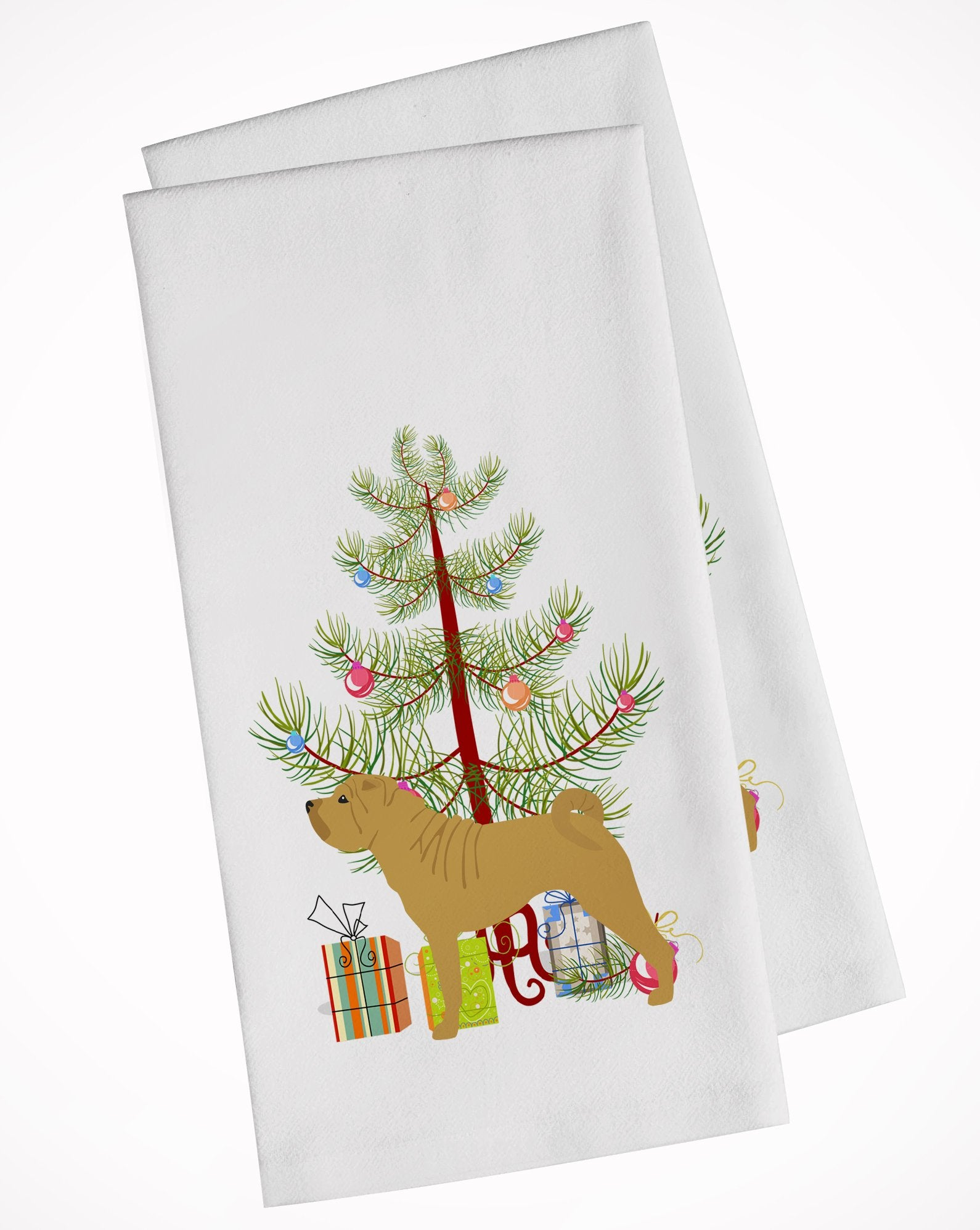Buy this Shar Pei Merry Christmas Tree White Kitchen Towel Set of 2 BB2970WTKT