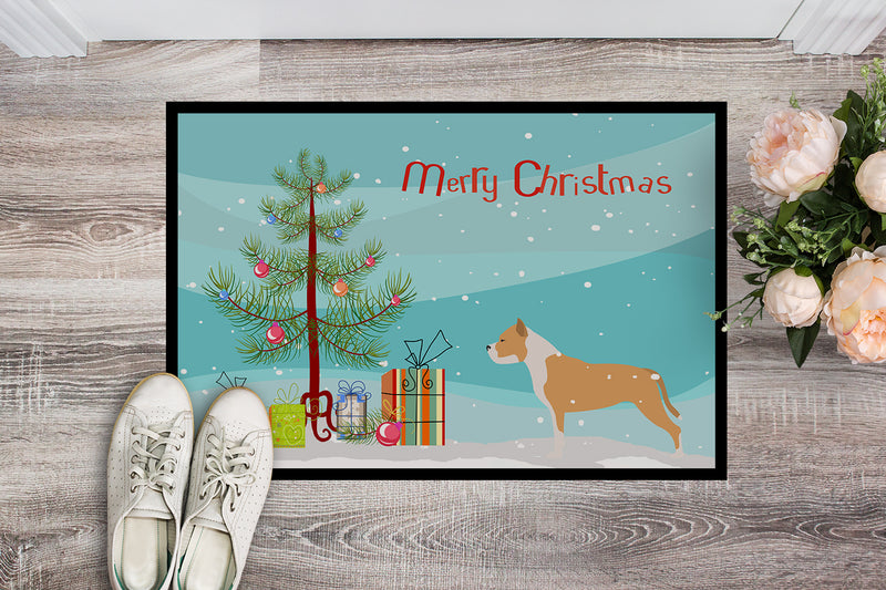 Staffordshire Bull Terrier Merry Christmas Tree Indoor or Outdoor Mat 18x27 BB2972MAT by Caroline's Treasures