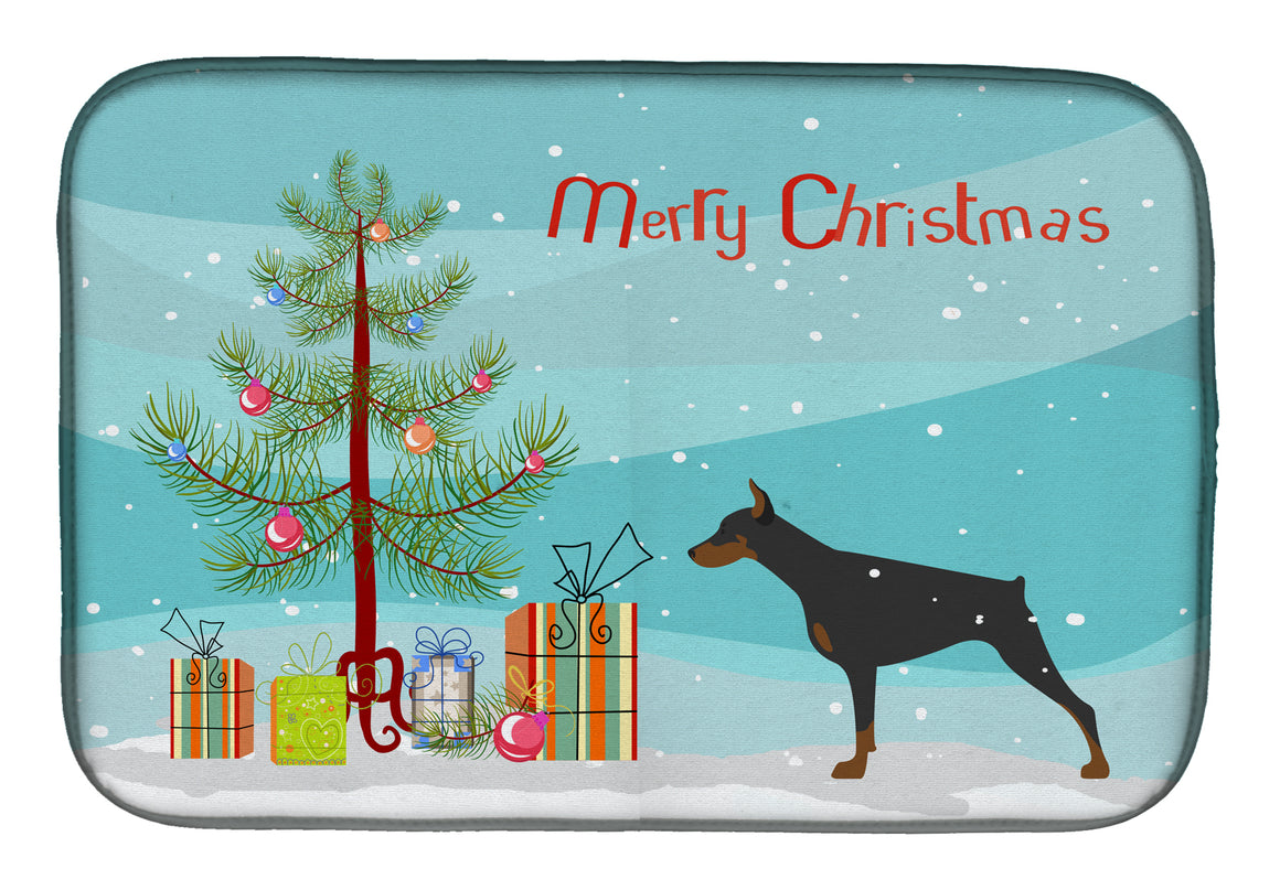 Buy this Doberman Pinscher Merry Christmas Tree Dish Drying Mat BB2978DDM