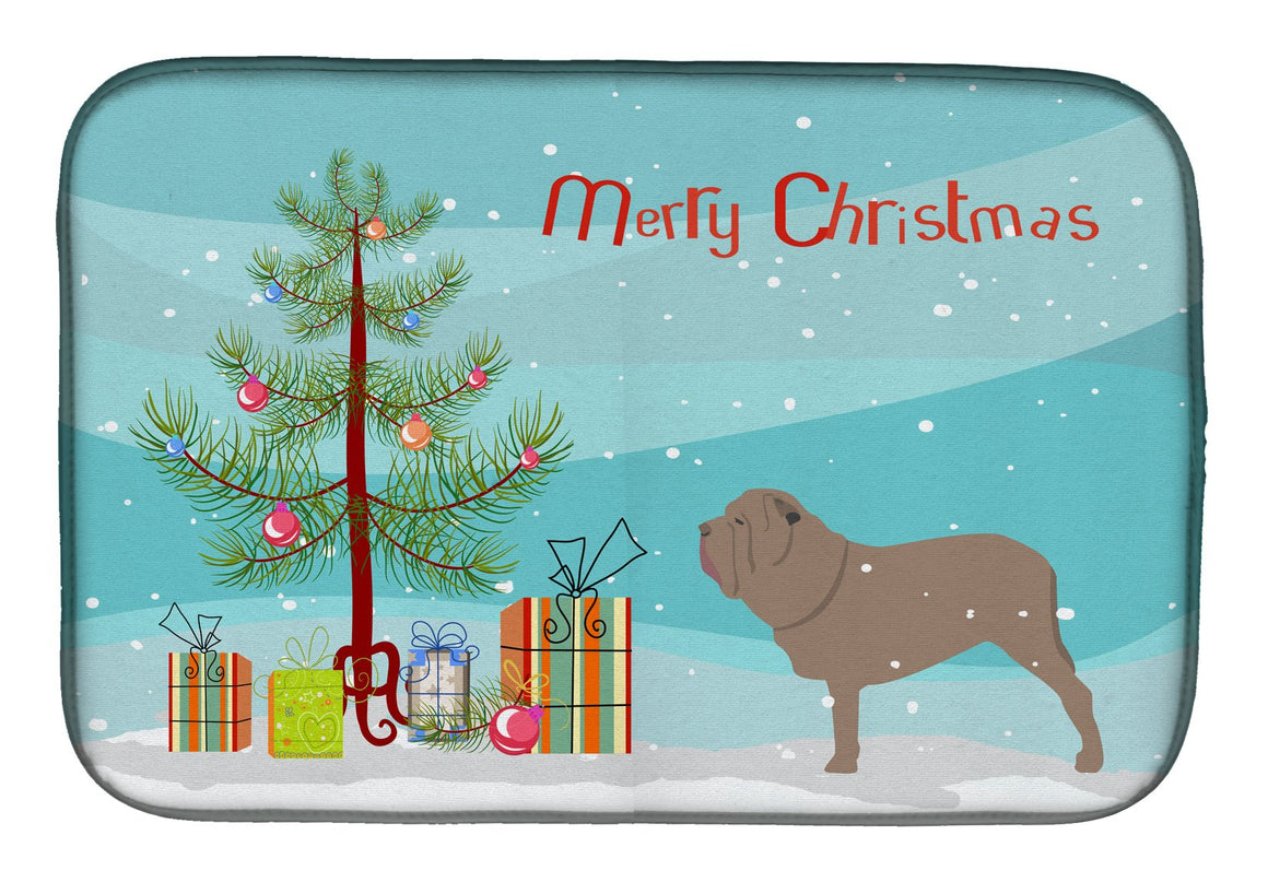 Buy this Neapolitan Mastiff Merry Christmas Tree Dish Drying Mat BB2983DDM