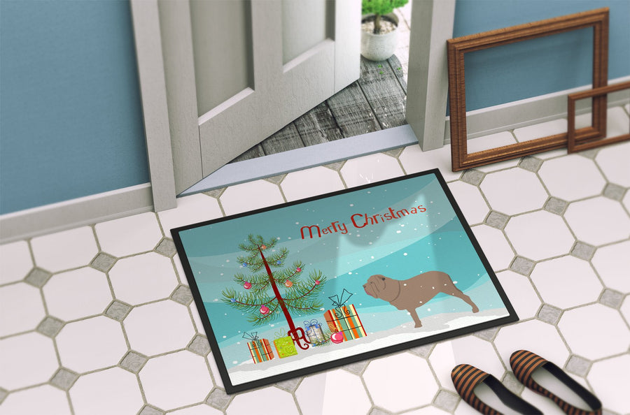 Buy this Neapolitan Mastiff Merry Christmas Tree Indoor or Outdoor Mat 24x36 BB2983JMAT