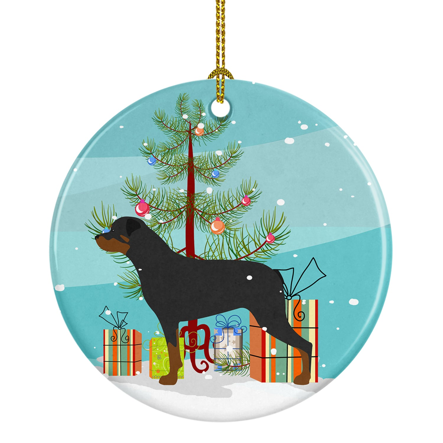 Buy this Rottweiler Merry Christmas Tree Ceramic Ornament BB2984CO1