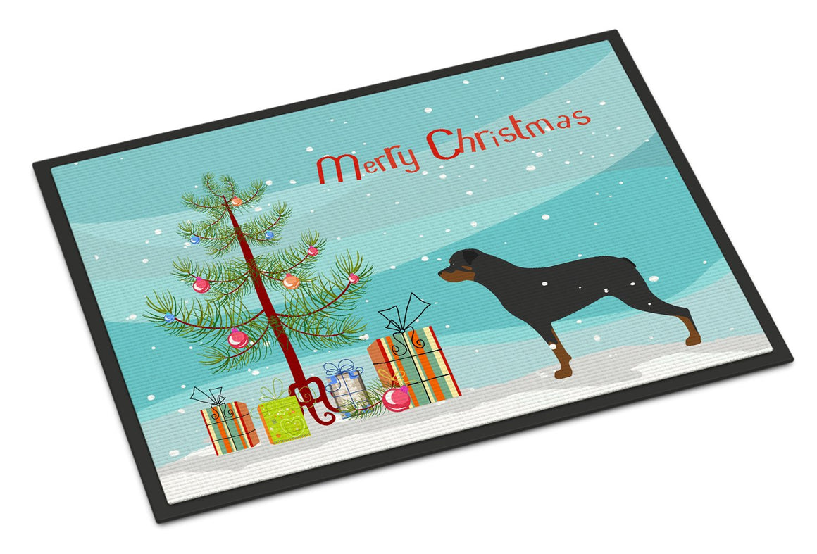 Buy this Rottweiler Merry Christmas Tree Indoor or Outdoor Mat 24x36 BB2984JMAT