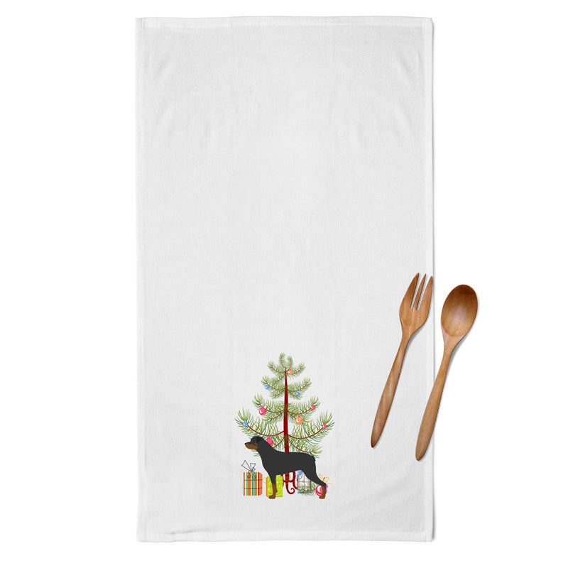 Buy this Rottweiler Merry Christmas Tree White Kitchen Towel Set of 2 BB2984WTKT