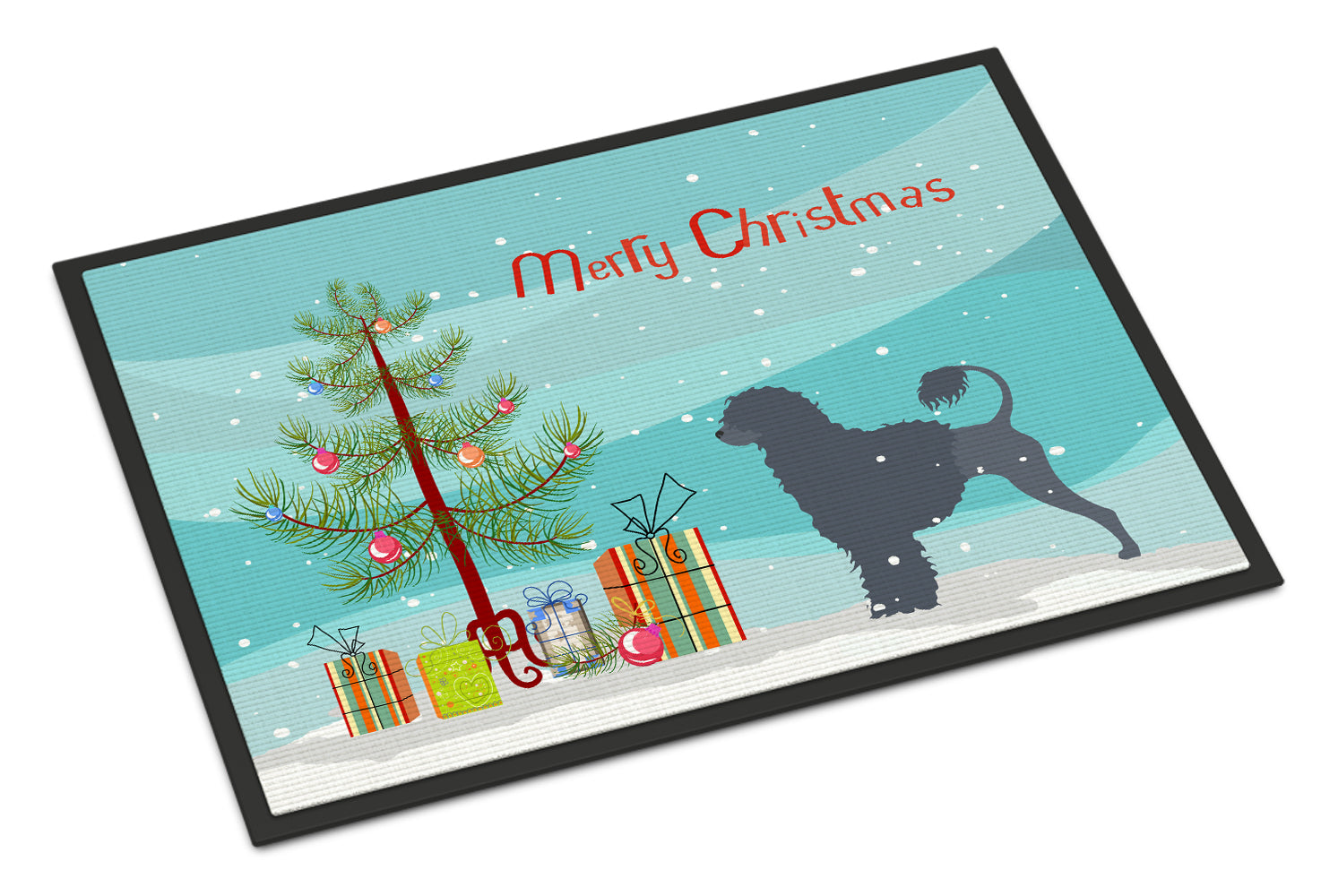 Buy this Portuguese Water Dog Merry Christmas Tree Indoor or Outdoor Mat 18x27 BB2986MAT