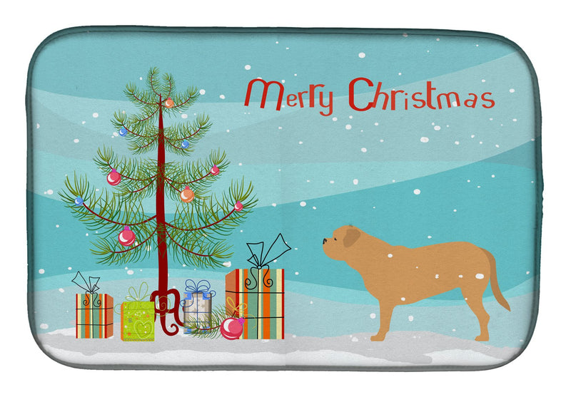 Buy this Dogue de Bordeaux Merry Christmas Tree Dish Drying Mat BB2988DDM