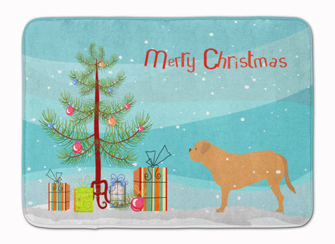 Buy this Dogue de Bordeaux Merry Christmas Tree Machine Washable Memory Foam Mat BB2988RUG