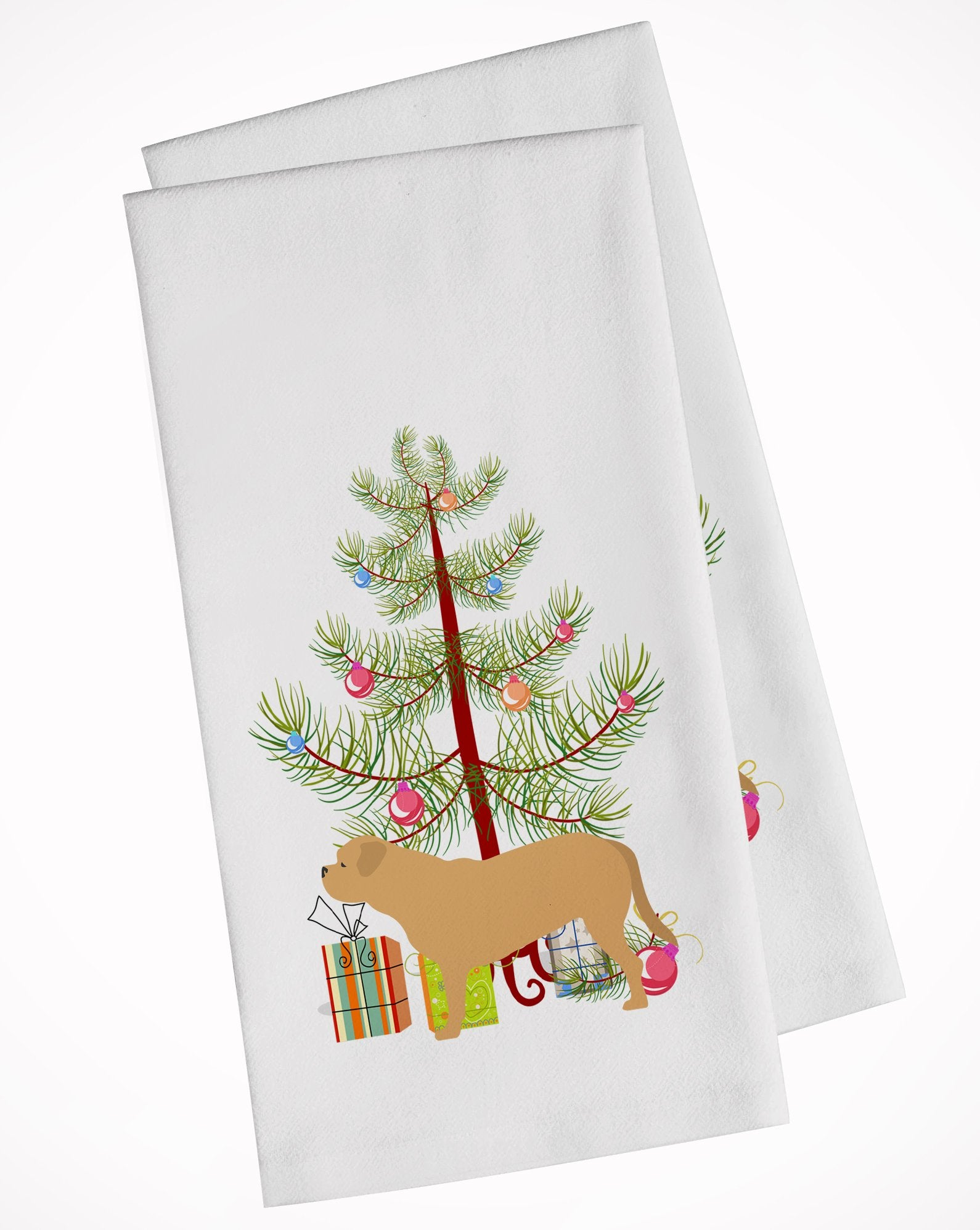 Buy this Dogue de Bordeaux Merry Christmas Tree White Kitchen Towel Set of 2 BB2988WTKT