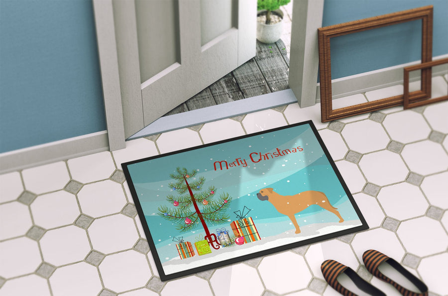 Buy this Bullmastiff Merry Christmas Tree Indoor or Outdoor Mat 24x36 BB2989JMAT
