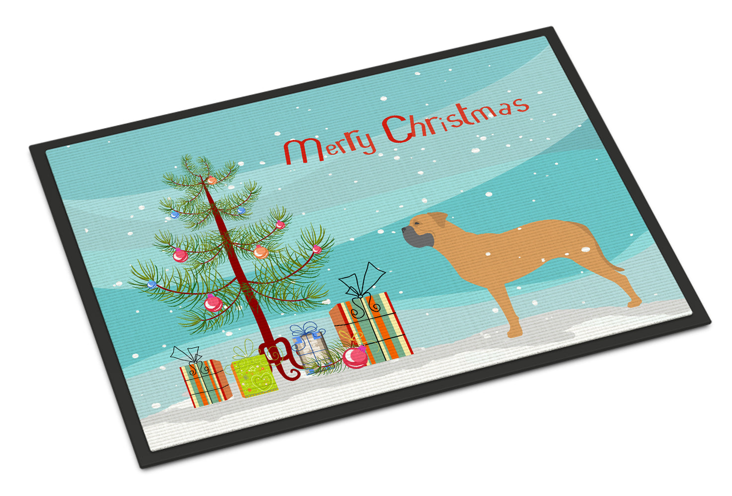 Bullmastiff Merry Christmas Tree Indoor or Outdoor Mat 18x27 BB2989MAT by Caroline's Treasures