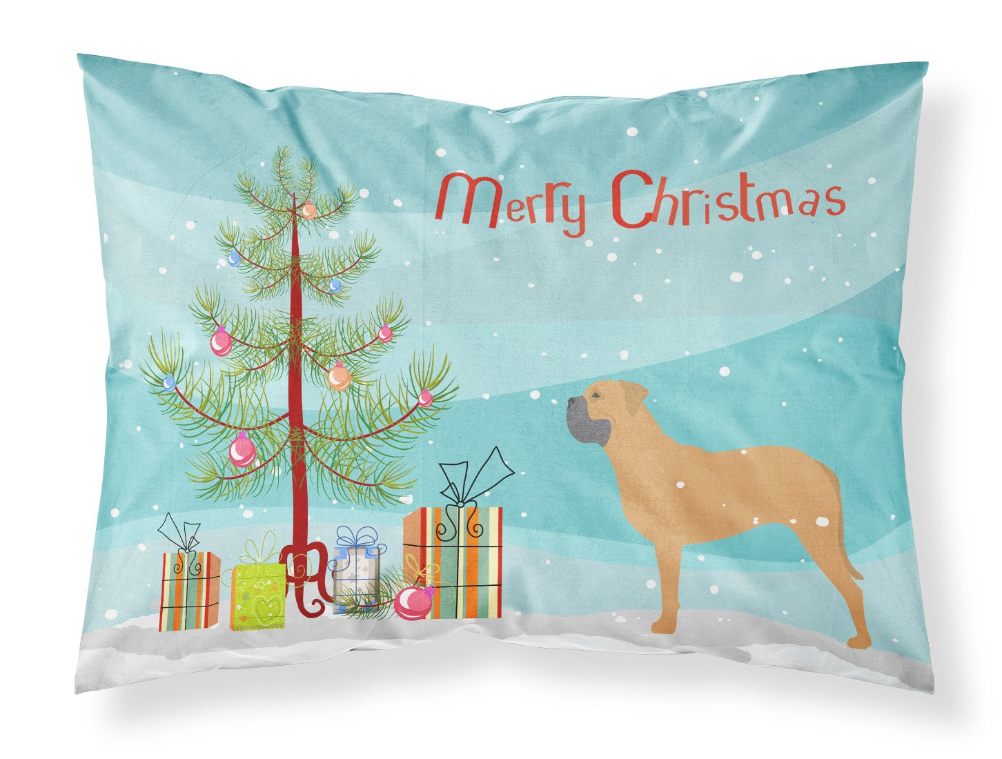 Bullmastiff Merry Christmas Tree Fabric Standard Pillowcase BB2989PILLOWCASE by Caroline's Treasures