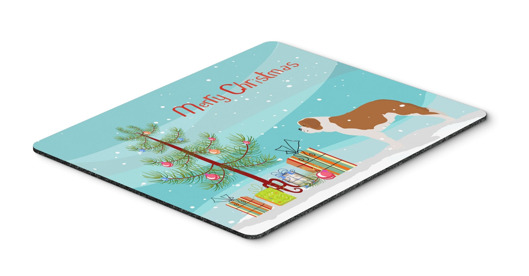 "Buy this ""Saint Bernard Merry Christmas Tree Mouse Pad, Hot Pad or Trivet"""