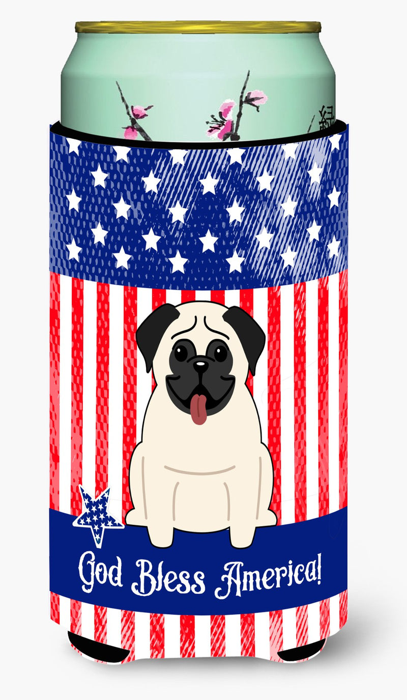 Buy this Patriotic USA Pug Cream Tall Boy Beverage Insulator Hugger