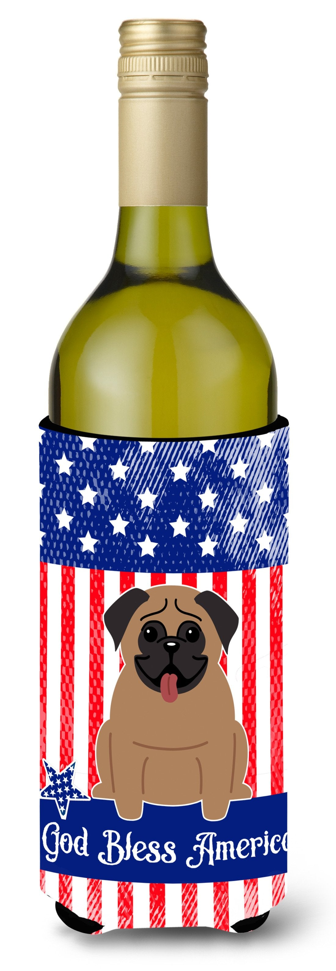 Patriotic USA Pug Brown Wine Bottle Beverge Insulator Hugger BB3000LITERK by Caroline's Treasures