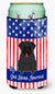 Buy this Patriotic USA Pug Black Tall Boy Beverage Insulator Hugger