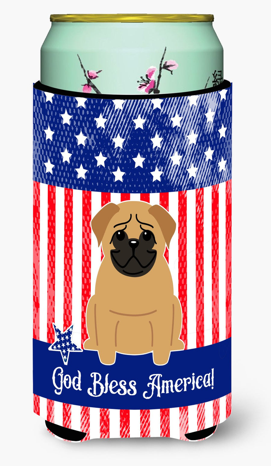 Buy this Patriotic USA Pug Brown Tall Boy Beverage Insulator Hugger