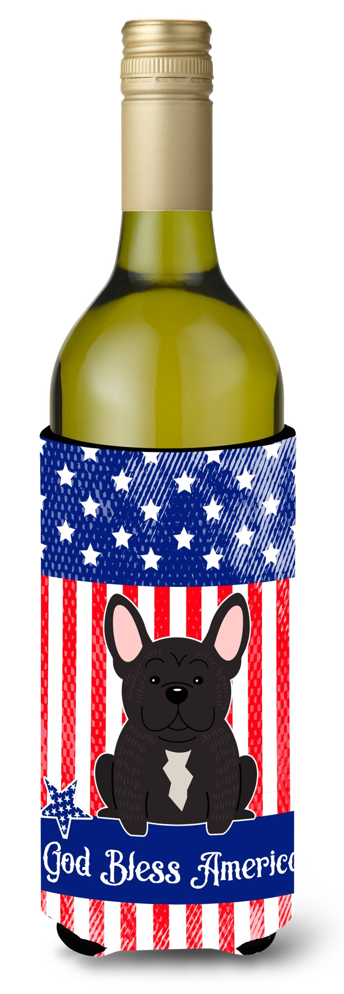 Buy this Patriotic USA French Bulldog Brindle Wine Bottle Beverge Insulator Hugger