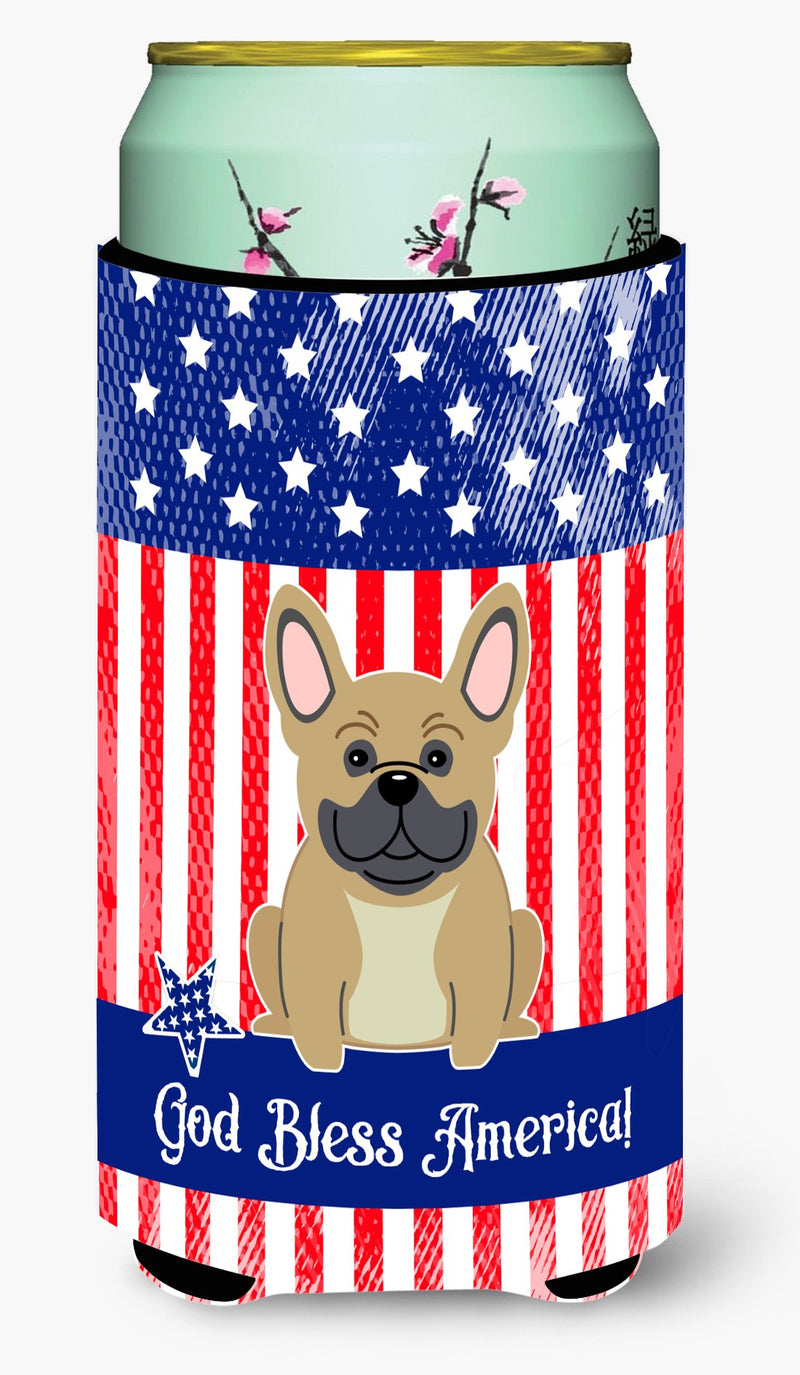 Buy this Patriotic USA French Bulldog Cream Tall Boy Beverage Insulator Hugger