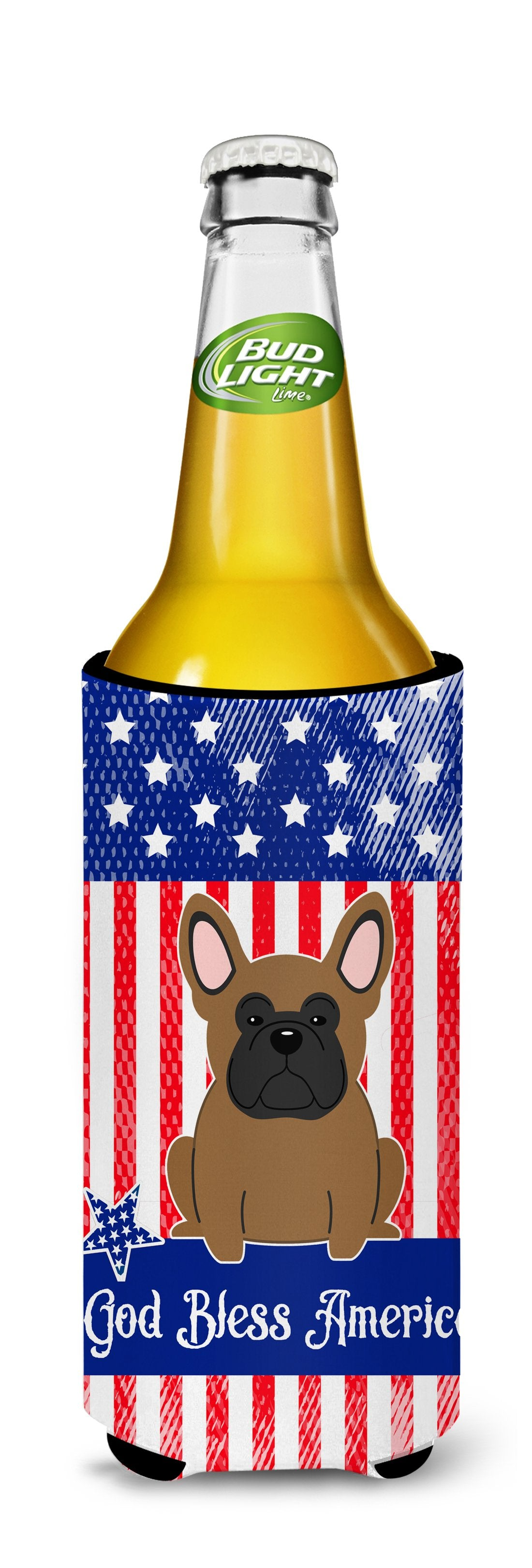 Patriotic USA French Bulldog Brown Michelob Ultra Hugger for slim cans BB3008MUK by Caroline's Treasures