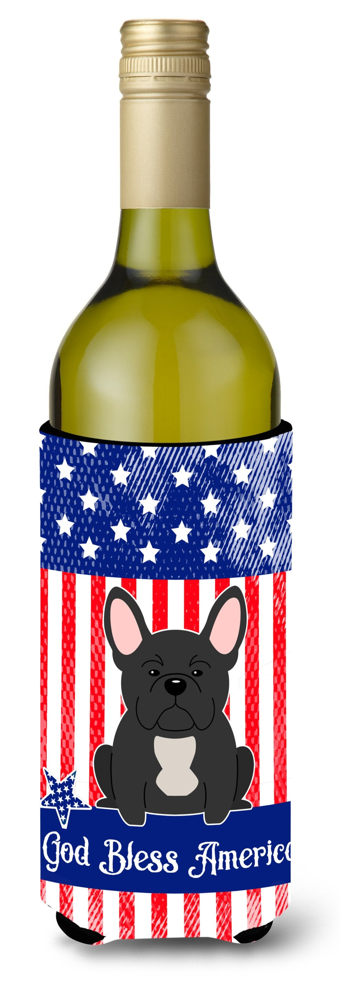 Buy this Patriotic USA French Bulldog Black Wine Bottle Beverge Insulator Hugger