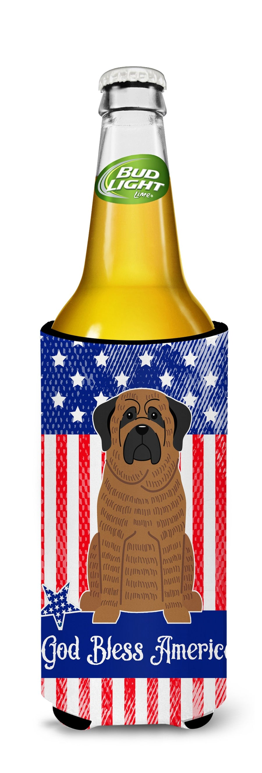 Buy this Patriotic USA Mastiff Brindle Michelob Ultra Hugger for slim cans