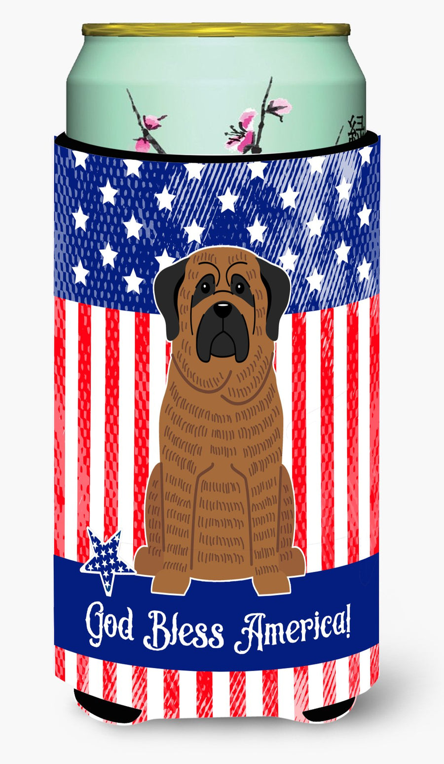 Buy this Patriotic USA Mastiff Brindle Tall Boy Beverage Insulator Hugger