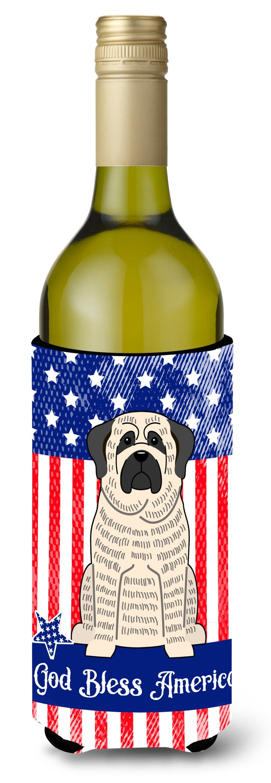 Buy this Patriotic USA Mastiff Brindle White Wine Bottle Beverge Insulator Hugger