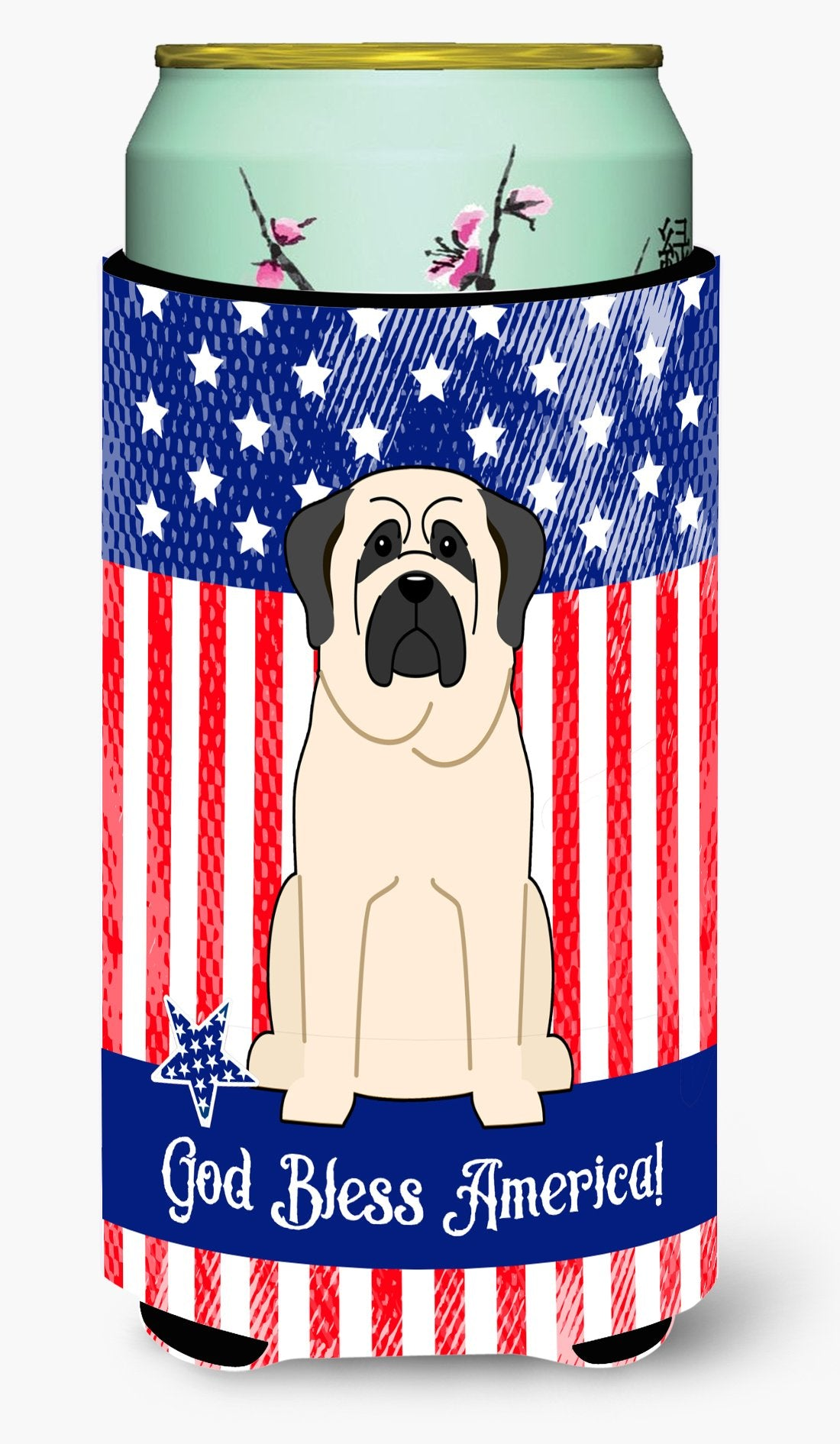 Buy this Patriotic USA Mastiff White Tall Boy Beverage Insulator Hugger