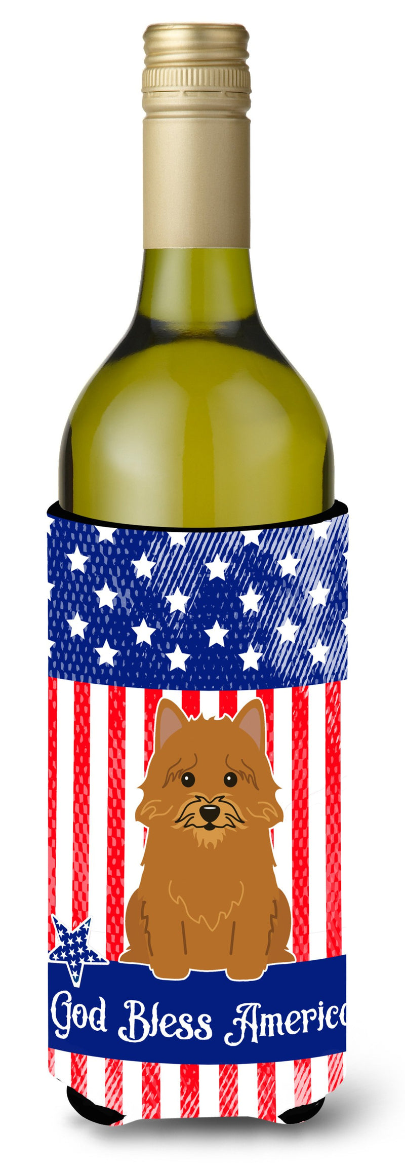 Buy this Patriotic USA Norwich Terrier Wine Bottle Beverge Insulator Hugger