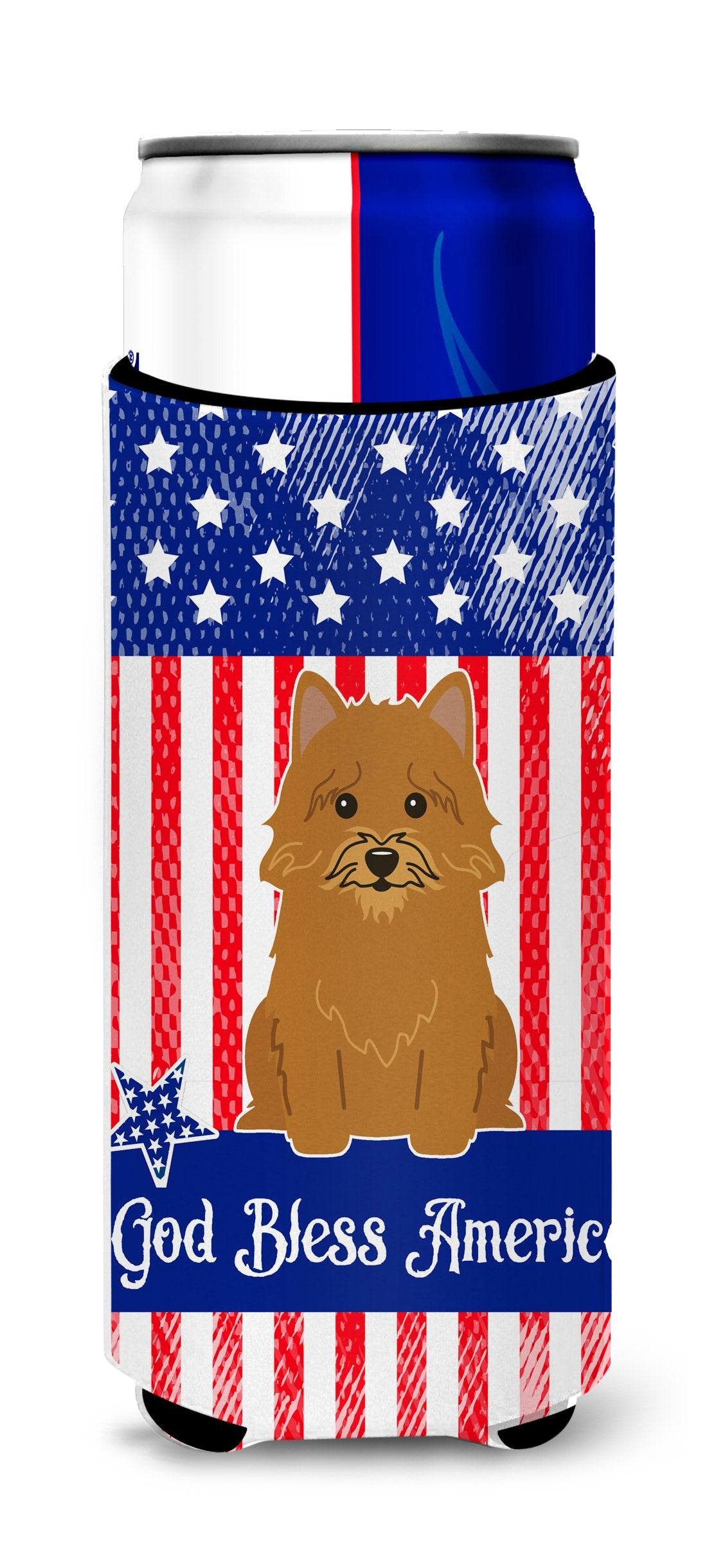 Buy this Patriotic USA Norwich Terrier Michelob Ultra Hugger for slim cans BB3015MUK