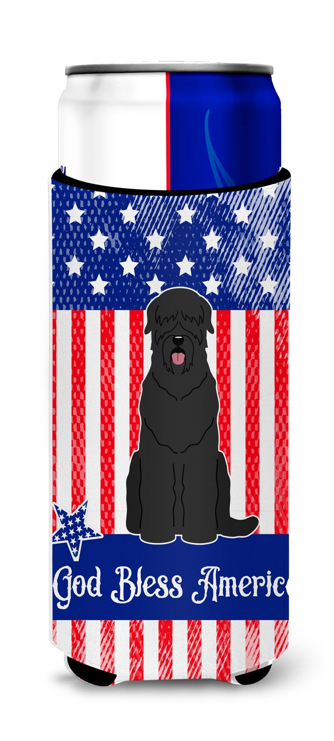 Buy this Patriotic USA Black Russian Terrier Michelob Ultra Hugger for slim cans BB3021MUK
