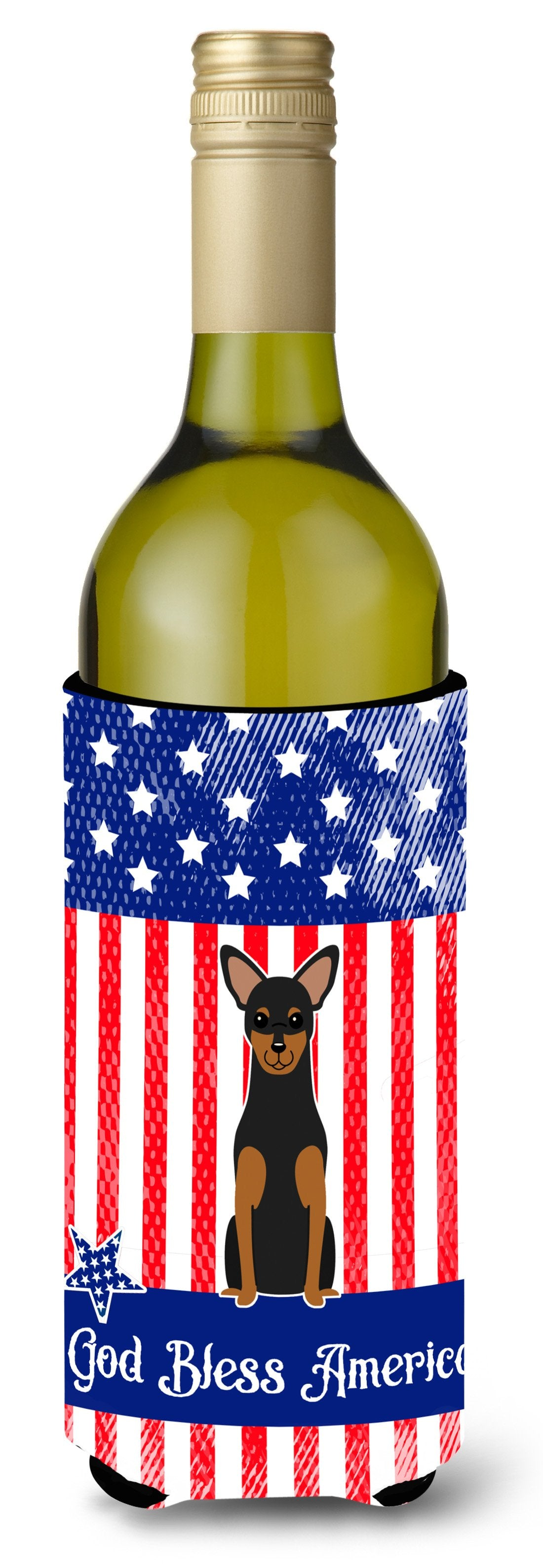 Patriotic USA Manchester Terrier Wine Bottle Beverge Insulator Hugger BB3023LITERK by Caroline's Treasures