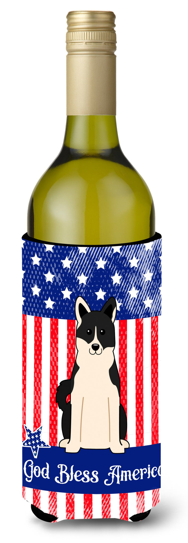 Buy this Patriotic USA Russo-European Laika Spitz Wine Bottle Beverge Insulator Hugger