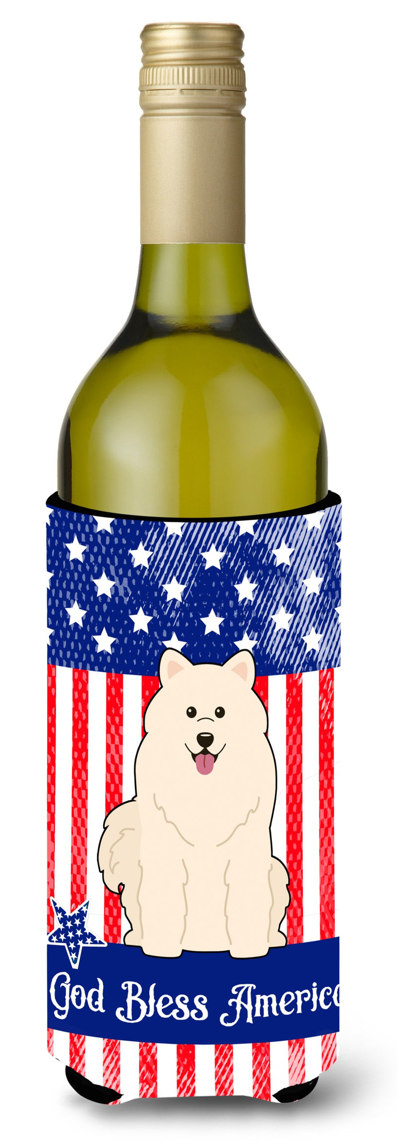 Buy this Patriotic USA Samoyed Wine Bottle Beverge Insulator Hugger
