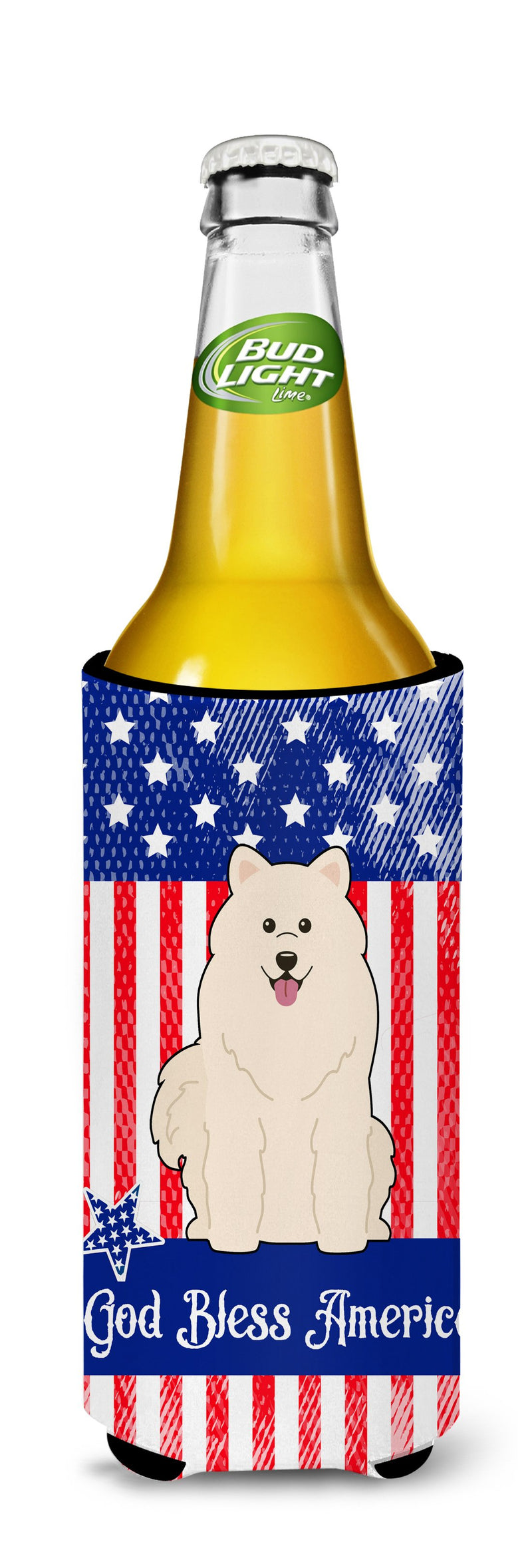 Buy this Patriotic USA Samoyed Michelob Ultra Hugger for slim cans BB3025MUK